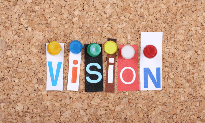 vision pinned to corkboard on a vision board